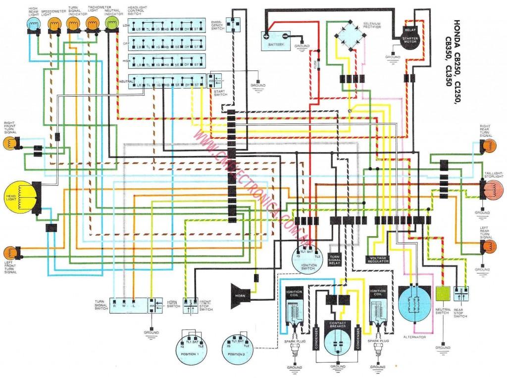 Esta imagen la encontré gogleando, imagino que tanto la CB 250 como la CB350 compartien esquema eléctrico, de ahí su nombre, a pesar que puede no ser 100% correcto es más que una ayuda a la hora de tener claro que cable es cada uno.
